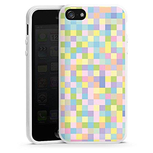 Apple iPhone 5s Housse Étui Protection Coque Motif Motif couleurs Housse en silicone blanc