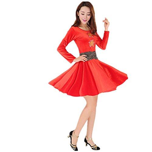 Step Kostüme Dance (GBDSD Square Dance Kleidung mit langen Ärmeln Anzug Herbst und Winter Gold Samtröcke Rock Latin Tanzkleidung ,)