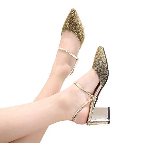 Damen Pailletten spitzen Schuhe quadratisch Casual Damen Sandalen Mode Pure Color Slipper Lazy Singal Schuhe US:6.5 gold (Exotische Tänzer Outfits)