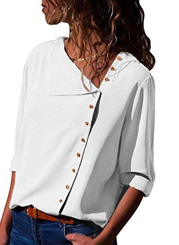 Aleumdr Camice Lunghe Donna Eleganti con Pulsante Bluse Donna Manica 3/4 Sciolto Bianco XL