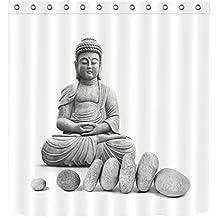 LB Tejido de poliéster Impresión 3D impermeable a prueba de moho Cortinas de baño Buddah Buddhism Budista spa yoga zen Z Cortinas Para la decoración del cuarto de baño Con 12 ganchos