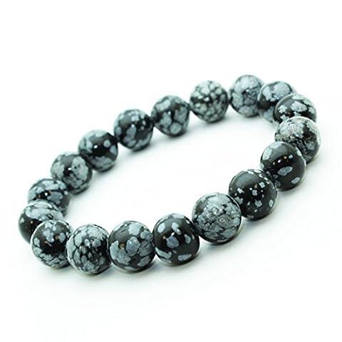 Bracelet Obsidienne neige en pierre semi-précieuse perles de 10 mm.