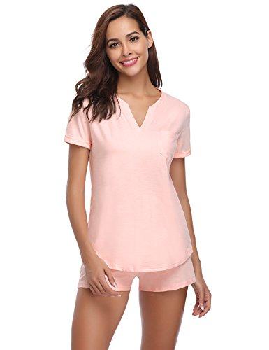 Rosa Baumwoll-shorty-pyjama (Hawiton Damen Schlafanzug Kurz Baumwolle Sommer Pyjama Nachtwäsche Hausanzug Kurzarm V Ausschnitt ,Z-rosa,  M)