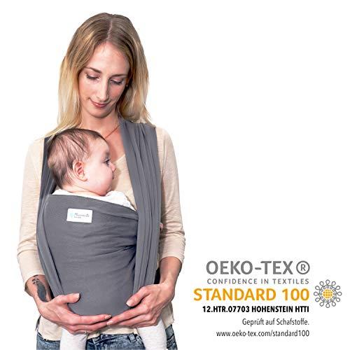 Babytragetuch - Tragetuch aus Baumwolle OEKO-TEX zertifiziert - Baby Sling Carrier für Neugeborene bis 15 kg - Babytuch 5m lang - inklusive Aufbewahrungsbeutel & Bindeanleitung - hellgrau