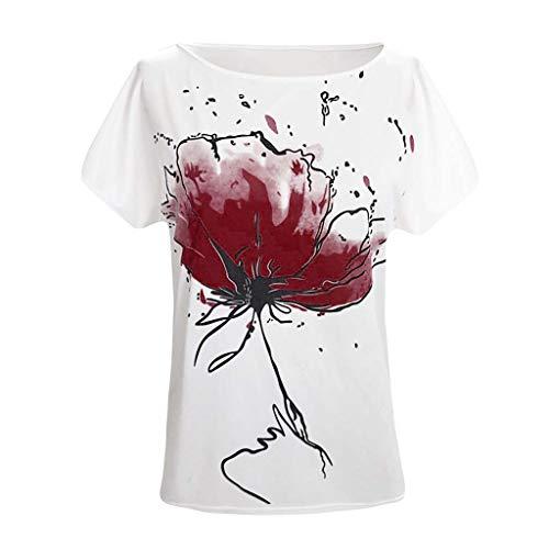 Floweworld Damen One Shoulder Blumendruck T Shirt Lässig O Hals Kurzarm Lose Tops Bluse