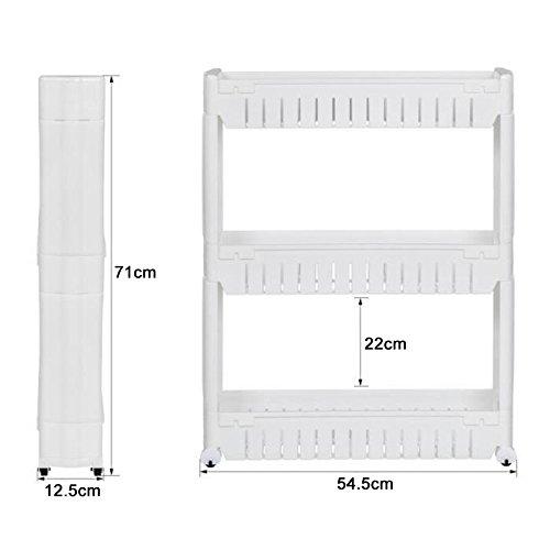 Preisvergleich Produktbild POPSPARKk Küchenwagen Regal Nischenwagen Lagerung auf 3 Etagen White auf Rädern