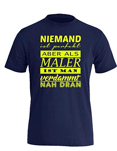 Niemand ist Perfekt aber als Maler ist man verdammt nah dran! - Herren Rundhals T-Shirt Navy/Neongelb