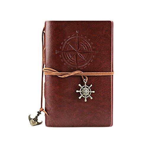 Qinlee Vintage Tagebuch Notizbuch Loseblatt Notizblock Wochenplanung Idea Memory Memo Buchen für Travel Journal Schüler Notizen (Braun) (Kleines Journal Notebook)