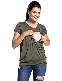 Zeta Ville - Women's Maternity Nursing t-Shirt Crew Neck Layered Design - 436c