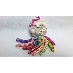 Pulpo amigurumi para recién nacido con tentáculos multicolor. Pulpo de ganchillo - crochet para bebé.