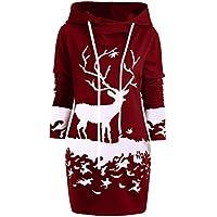 Weihnachtskleid,Juliyues Damen Christmas Reindeer Printed Minikleid Weihnachten Hoodie Sweatshirt Pullover Party Kleid