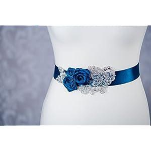 Brautgürtel Spitze Blüte Hochzeit Kleid Taillengürtel in royalblau, blau G11