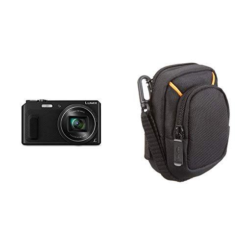 Panasonic lumix dmc-tz57eg-k fotocamera, sensore mos 16 mp, zoom ottico 20x, video full hd, wink detector, wi-fi certified, nero & amazonbasics - custodia per fotocamera compatta, misura media