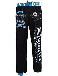 SODIAL(R) Neue Fashion Tunnelzug elastische Taille Buchstabedruck Grau + Blau lose Mann Sport Hosen L
