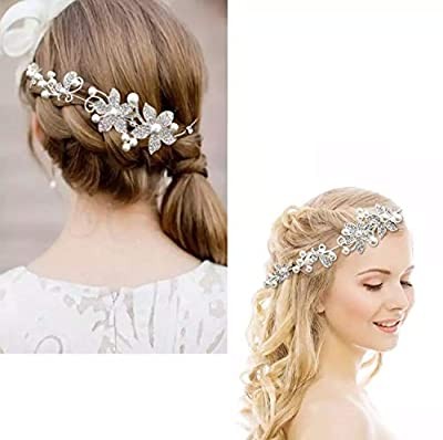 Ziory 1Pc Silver Crystal Rhinestone Pearl Headband Tiara For Girls And Women