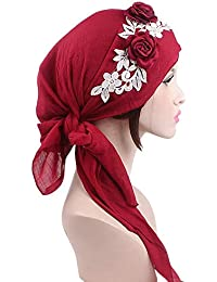 Elodiey Señoras Musulmanas Turban Hijab Retro Del Casquillo Pañuelo Algodón  Islámico Abaya Dubai Años 20 Mujeres Diadema Bandana… 49e65a0783c