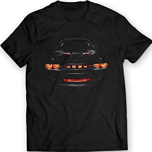 Dodge Challenger R/T Musclecar Auto Racing Car T-Shirt 100% Baumwolle (L, Schwarz)
