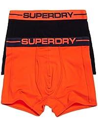 Superdry Sport Boxer Shorts Underwear Double Pack Black/Sunset Orange