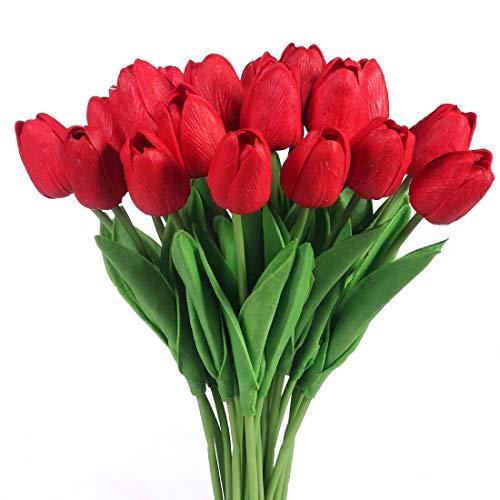 Justoyou tulipani in lattice, effetto realistico, fiori artificiali per bouquet di nozze, Dark Red, 20 Pezzi