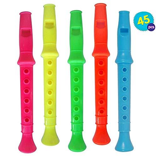 45pcs Mini Flauti | Flute En Plastique Multicolore Per Bambini | Flauto Resin Recorder Pochette-Surprise Jouet Accessoires Fête Anniversaire | Educativo Musicale Compleanno Halloween Trick or Treat