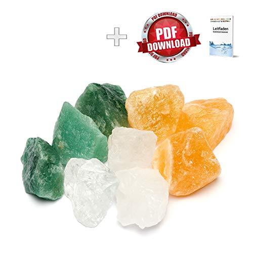 Edelsteinwasser Kraft & Mut Mischung | 100{829b9147e1007c09b7fc2aa128d3ab5d8eac2ec9a4d2eff32b9fb3bbf8802095} Natursteine: Bergkristall, Orangencalcit, Aventurin | Wassersteine/Heilsteine (250g)