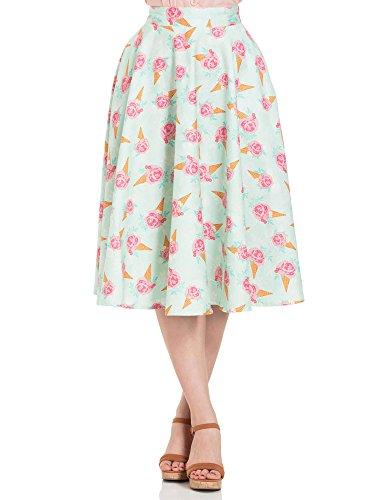 y Floral Ice Cream Print Skirt 3340 Grün S (Voodoo Vixen Kostüme)