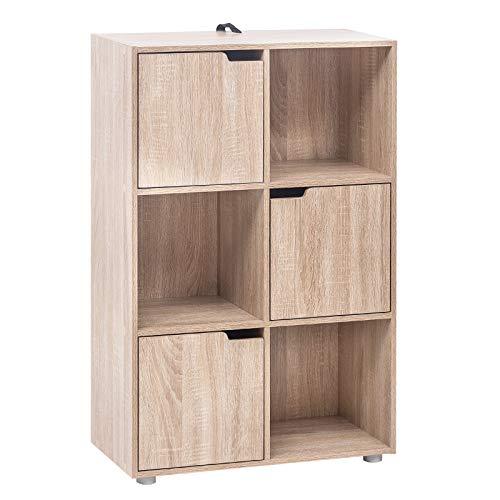 WOLTU Bücherregal SK001hei Bücherschrank Standregal Aufbewahrungregal Raumteiler Büroregal Aktenschrank, mit 3 Türen, MDF, 6 Fächer, 60x30x91cm -