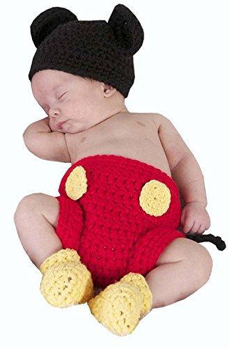 Jastore Mickey Maus Fotografie Prop Baby-Kostüm Süss Crochet häkeln Strickmütze Hut Cap Mädchen Jungen Windel Schuhe Maus
