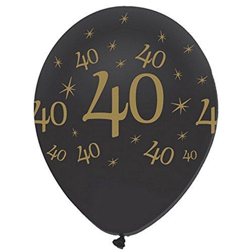 Creative Party Globos de cumpleaños, 30 cm diamentro, látex negro y dorado con el número 40 y estrellas, lote 6 unidades.