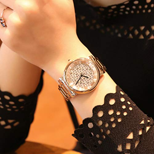 Women's watch full diamond dial ladies watch fashion women's watch quartz steel belt watch waterproof watch – silver