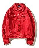 Pizoff Unisex Hip Hop Jeansjacke aus Denim in auffälliger Distressed-Optik verwaschenem mit Bedruckter Rückseite Rose H AH038-red-M