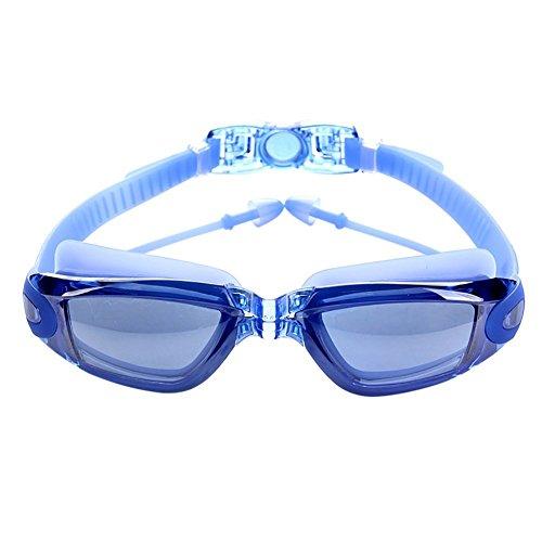 Verspiegelte Profi Anti Fog Schwimmbrille Wettbewerb Schwedenbrille swimming Goggles (Blau) (Nase Lecken)