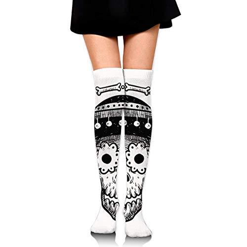 Funny Halloween Mexican Hat Style Skull Ankle Stockings Over The Knee Sexy Womens Sports Athletic Soccer Socks