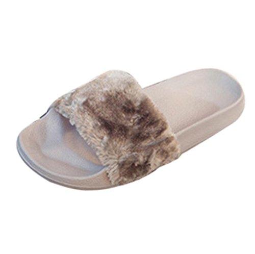 Uomogo® pantofole da donna molle piatte sandali soffici con dolce peluche pantofola outdoor/indoor in 4 colori (cn:39/9, grigio)