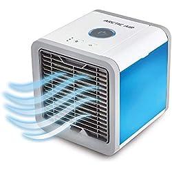 Chosimo Refroidisseur d'air Mobile Refroidisseur de climatiseur USB, Mini climatiseur Portable 3 en 1 USB, humidificateur, purificateur avec 7 Couleurs de Del pour Le Bureau à la Maison en Plein air