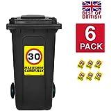30mph velocidad señales [6x Pack]–A4pegatinas de vinilo, fondo de color amarillo ideal para cubos de la basura