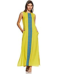 Amazon Brand - Myx Women Sleeveless Cotton Flax Maxi Dress