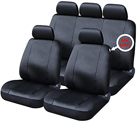 XtremeAuto® 9 PCE Sports Hyde Park Luxury Black Leather Look Full Set of Seat Covers