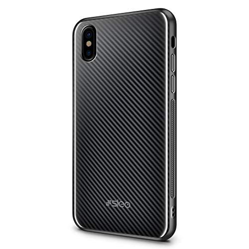 SLEO Custodia per iPhone XS/iPhone X, Cover per iPhone XS/iPhone X Coperchio Posteriore in Vetro Temperato[TPU + Vetro Temperato] Guscio di Protezione del Telefono - Fibra di carbonio