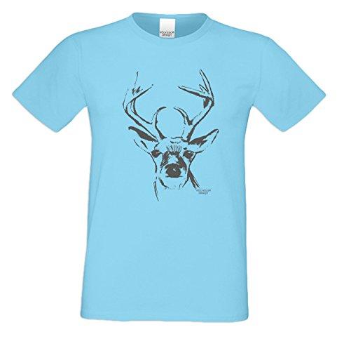 Witziges-Herren-Sprüche-Fun-T-Shirt cooles Volksfest Oktoberfest Party Outfit Motiv Hirsch auch in Übergrößen Farbe: hellblau Hellblau