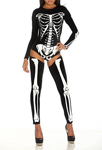 Smile YKK Skelett Druck Damen Langarm Oberteil Mit Strumpf Halloween Kostüm Cosplay Bekleidung Weiss-Schwarz