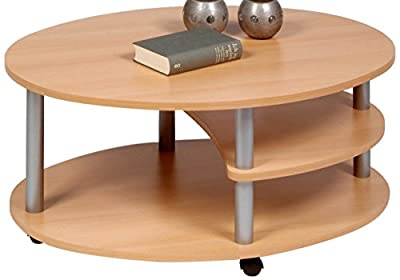 'Alfa-Tische M838 Primo 91 x 70 cm Beech Décor on Rollers, Oval Coffee Table