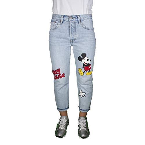Levi's jeans 501 donna light blue denim cropped regular fit con stampa mickey mouse 362000009