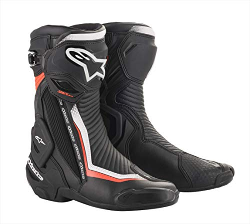 Alpinestars - Stivali Moto SMX Plus V2 Boots Black White Red Fluo - 42