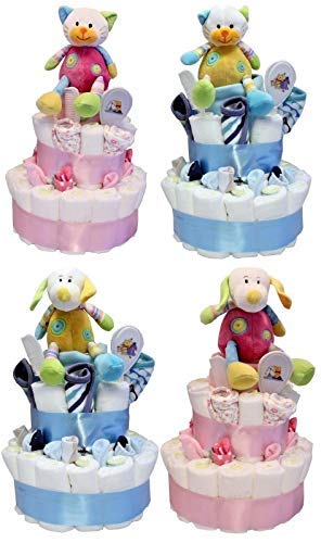 Groß Windel Torte 2 Ebenen Baby Geschenk/Babyparty Auswahl Mädchen oder Junge Design Mein 1. Plüschtier oder Katzendesign Pink oder Blau - Blau Hund