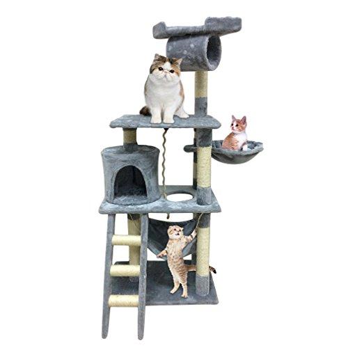 Homgrace Árbol para Gatos Rascador Hamaca Plataformas Bolas de Juego 141 cm
