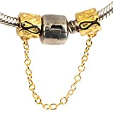 Sandcastle Charm Mother 's Day Gifts 18K Vergoldet Infinity Love Symbol 925Sterling Silber Safey Kette für europäische Armbänder by