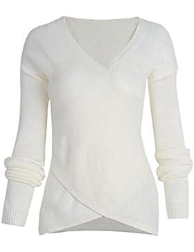 ZKOO Mujeres Jerséy Suéter De Punto Manga Larga Envolver Crossover Punto Suéteres Pullover Tops Señoras Otoño...