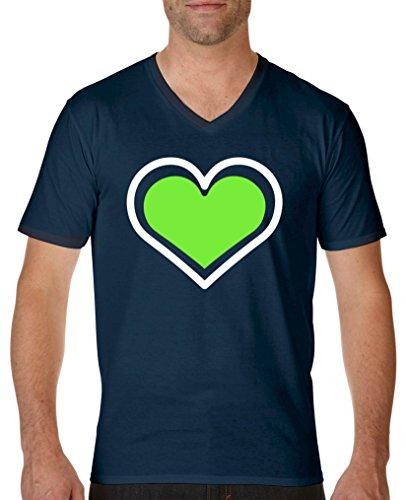 Comedy Shirts - Herz - Herren V-Neck T-Shirt - Navy/Weiss-Neongrün Gr. XXL