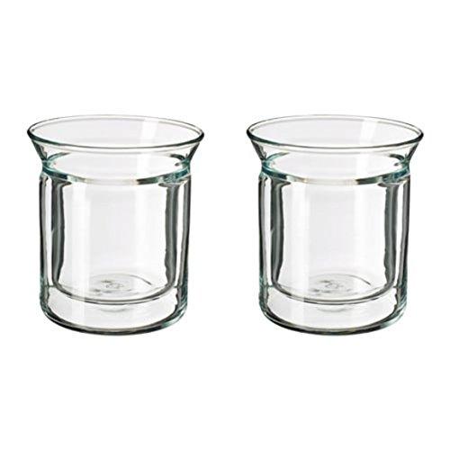 Ikea avrundad Zahnputzbecher doppelwandig Transparent Glas 2Stück Größe 5oz 903.589.81
